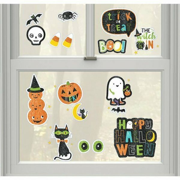 Halloween Friends Glitter Window Decorations 17 pk